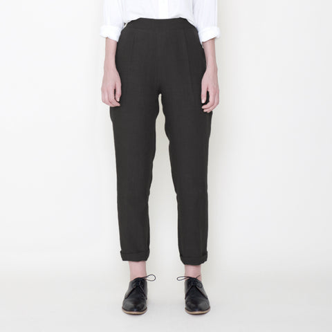 Signature Linen Relaxed Tapering Trouser - Black