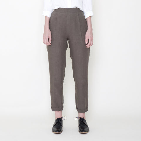Signature Linen Relaxed Tapering Trouser - Moss