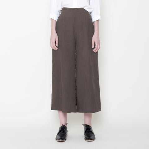 Signature Linen Cropped Wide Legged Trouser - Moss