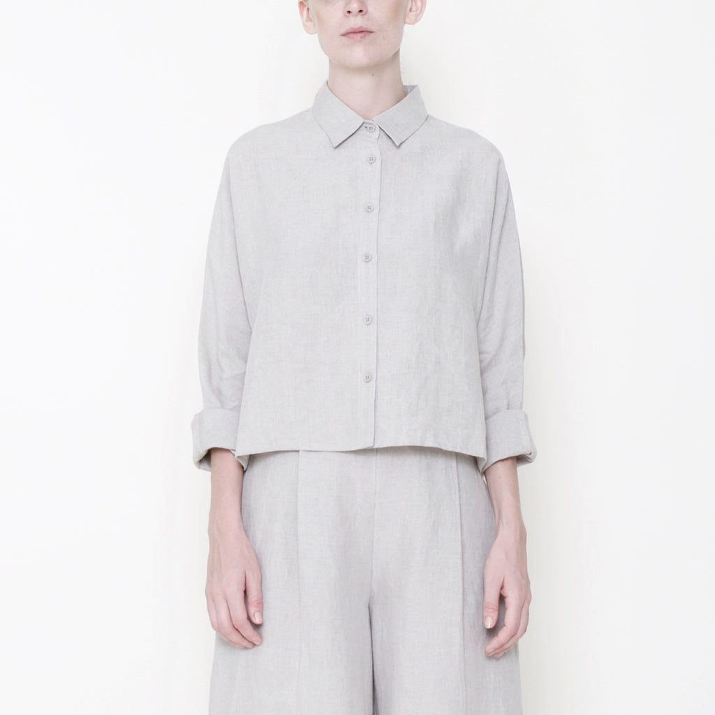 155e90a52e0 Signature Linen ¾ Cropped Shirt Jacket - Oatmeal