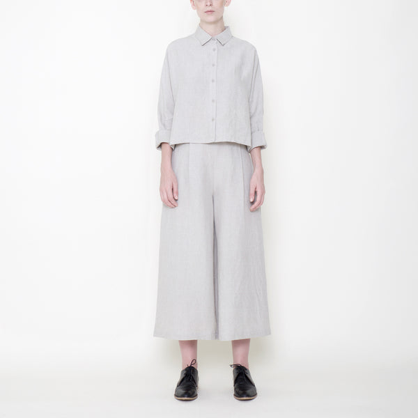 Signature Linen Cropped Wide Legged Trouser - Oatmeal