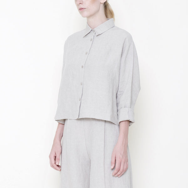 Signature Linen ¾ Cropped Shirt Jacket - Oatmeal