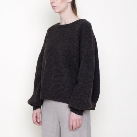 Poet Sleeves Ribbed Sweater - Yak - Coco - FW18