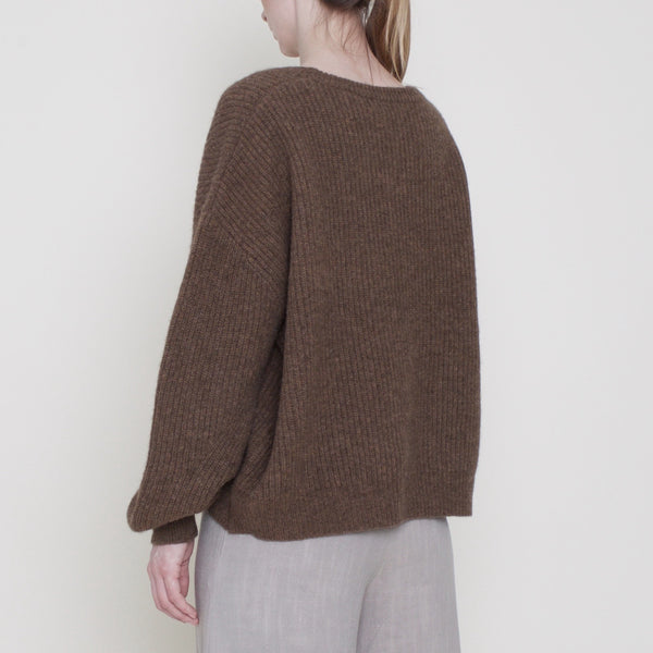 Poet Sleeves Ribbed Sweater - Yak - Toffee - FW18