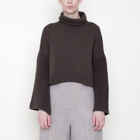 Bell-Sleeves Cropped Sweater - Cotton - Moss - FW18