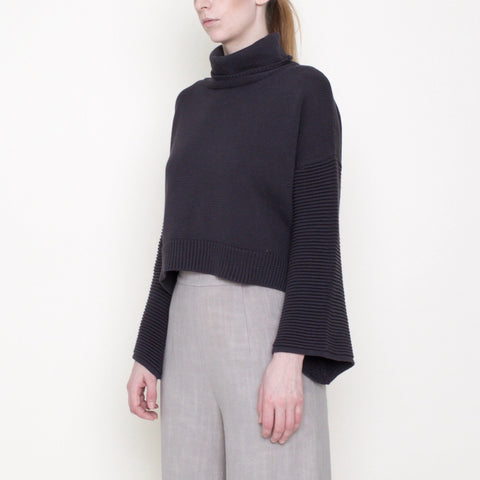 Bell-Sleeves Cropped Sweater - Cotton - Gray - FW18