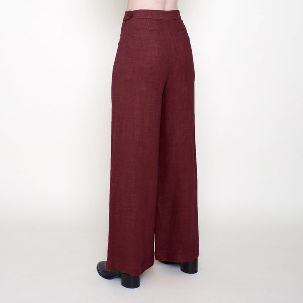 Linen Wide-Legged Trouser - Rust - FW18