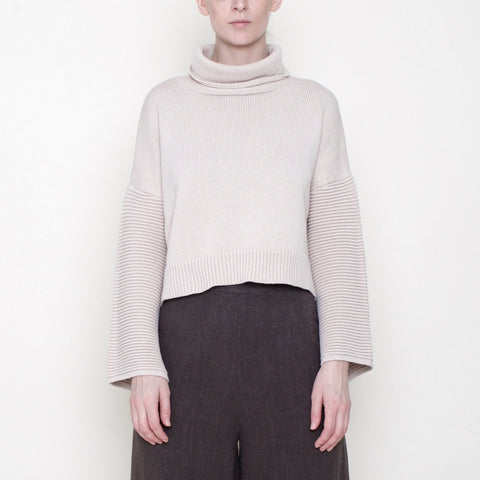 Bell-Sleeves Cropped Sweater - Cotton - Beige - FW18