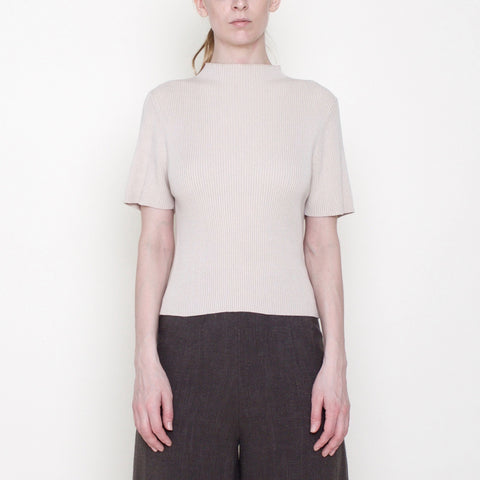 Mock-Neck Fitted Ribbed Tee - Cotton - Beige - FW18