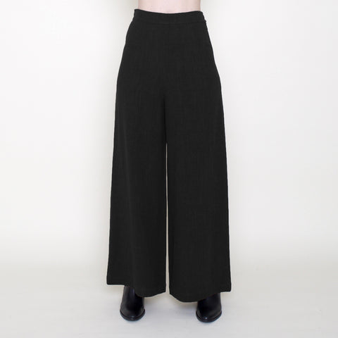 Linen Wide-Legged Trouser - Black - FW18