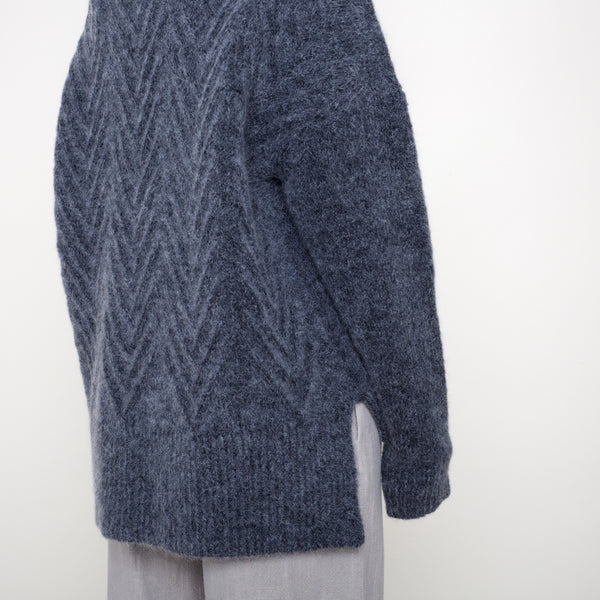 Chevron Funnel Sweater - Mohair - Charcoal - FW18