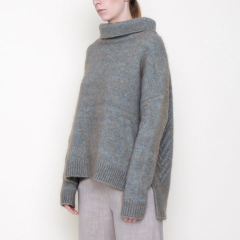 Chevron Funnel Sweater - Mohair - Fog - FW18