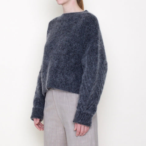 Chevron Sleeves Chunky Sweater - Mohair - Charcoal - FW18