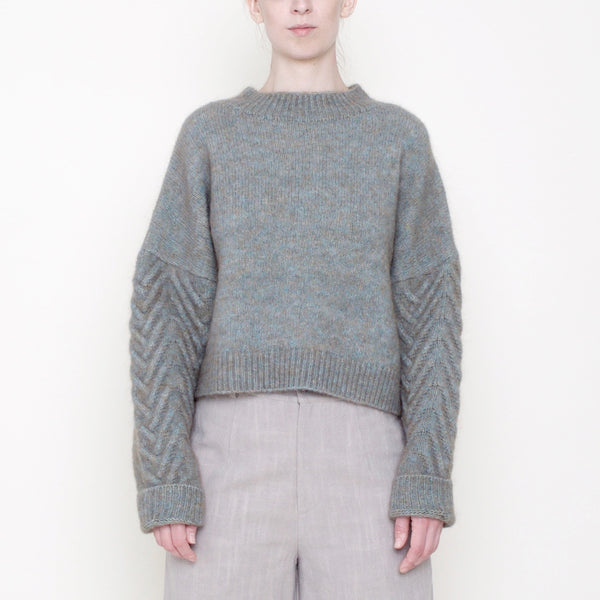 Chevron Sleeves Chunky Sweater - Mohair - Fog - FW18