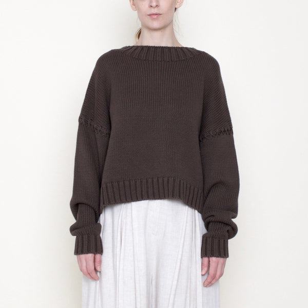 Stitched Sleeves Mockneck Sweater - Cotton - Moss - FW18