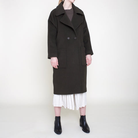 Classic Long Wool Coat - Olive - FW18