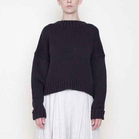 Stitched Sleeves Mockneck Sweater - Cotton - Gray - FW18