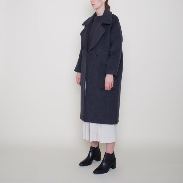 Classic Long Wool Coat - Charcoal - FW18