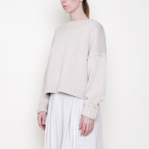 Stitched Sleeves Mockneck Sweater - Cotton - Beige - FW18