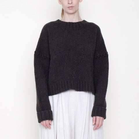Stitched Sleeves Mockneck Sweater - Yak - Coco - FW18