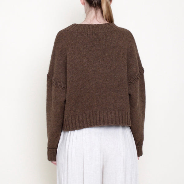 Stitched Sleeves Mockneck Sweater - Yak - Toffee - FW18