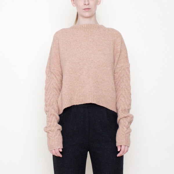 Chevron Sleeves Chunky Sweater - Yak - Salmon - FW18