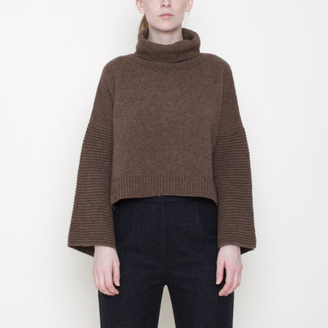 Bell-Sleeves Cropped Sweater - Yak - Toffee - FW18
