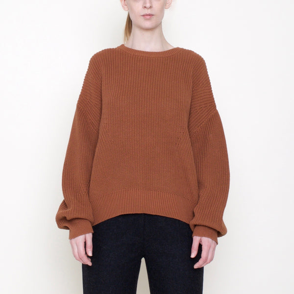 Poet Sleeves Ribbed Sweater - Cotton - Rust - FW18