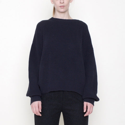 Poet Sleeves Ribbed Sweater - Cotton - Navy - FW18