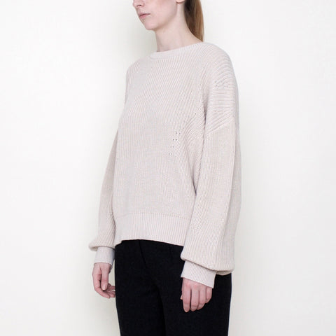 Poet Sleeves Ribbed Sweater - Cotton - Beige - FW18