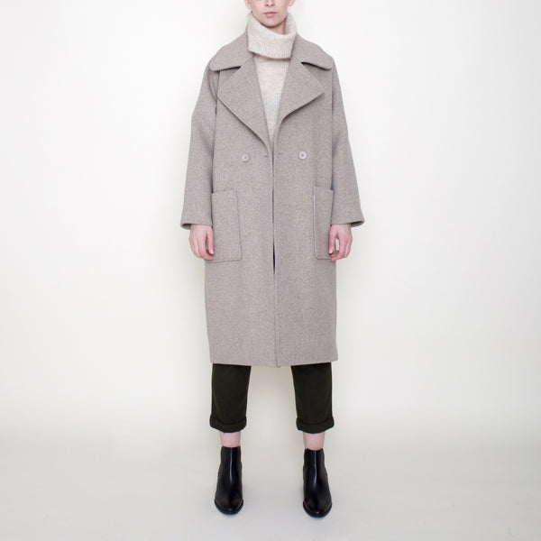 Classic Long Wool Coat - Oatmeal - FW18