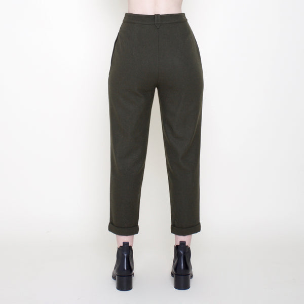 Wool Cropped Trouser - Olive - FW18