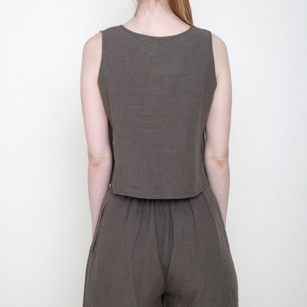 Signature Linen Cropped Tank - Moss