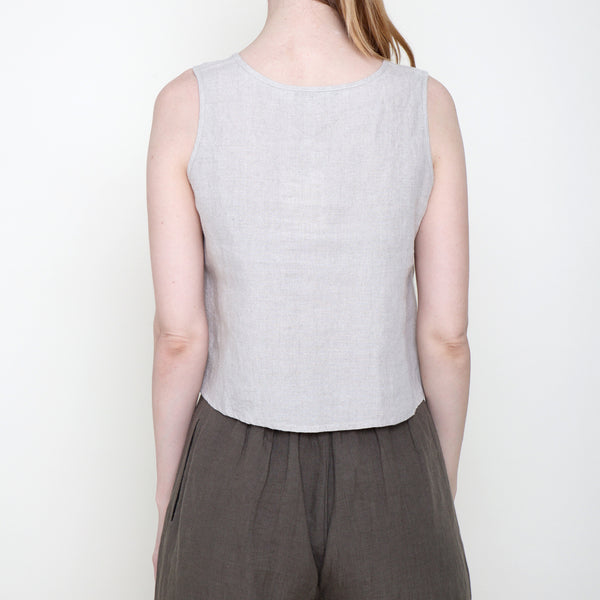 Signature Linen Cropped Tank - Oatmeal