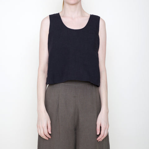 Signature Linen Cropped Tank - Black