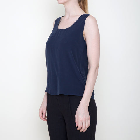 Signature Sand-washed Silk Tank - Navy