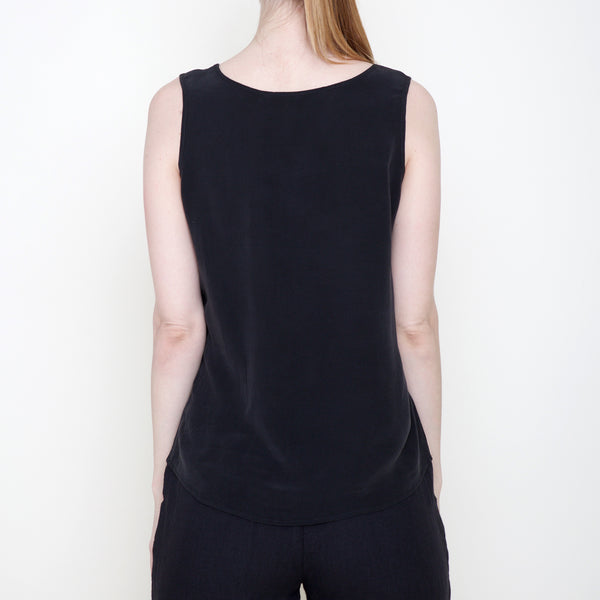 Signature Sand-washed Silk Tank - Black