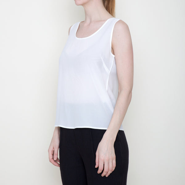 Signature Sand-washed Silk Tank - Off-White