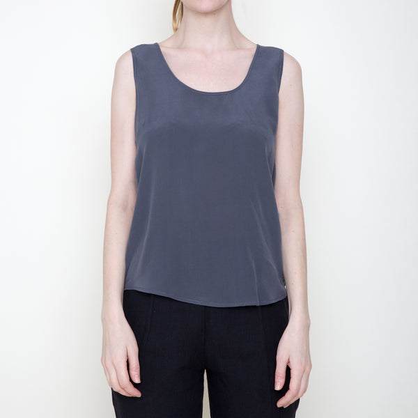 Signature Sand-washed Silk Tank - Gray