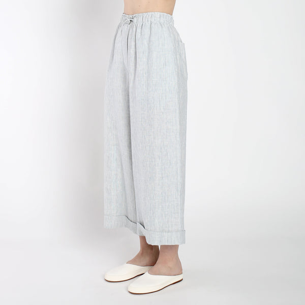 Pinstripe Elastic Wide-legged Trousers - SS19 - Blue Stripe