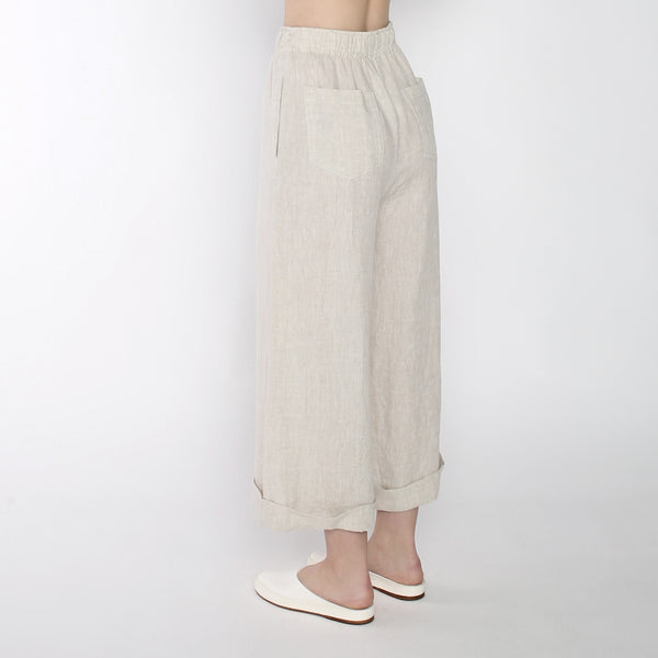 Linen Elastic Wide-legged Trousers - SS19 - Beige