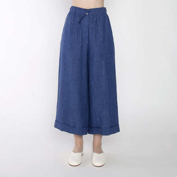 Linen Elastic Wide-legged Trousers - SS19 - Indigo