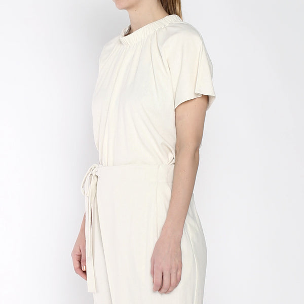 Raw Silk Ruched Neck Top - SS19 - Cream