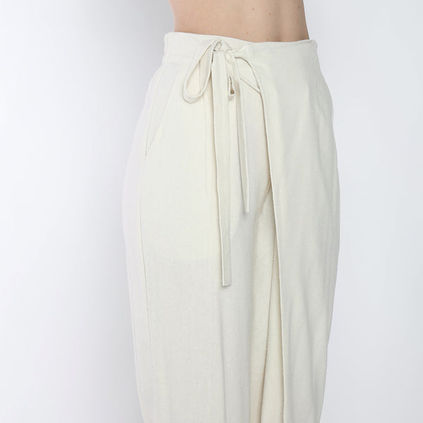Raw Silk Ainsley Wrap Pants - SS19 - Cream