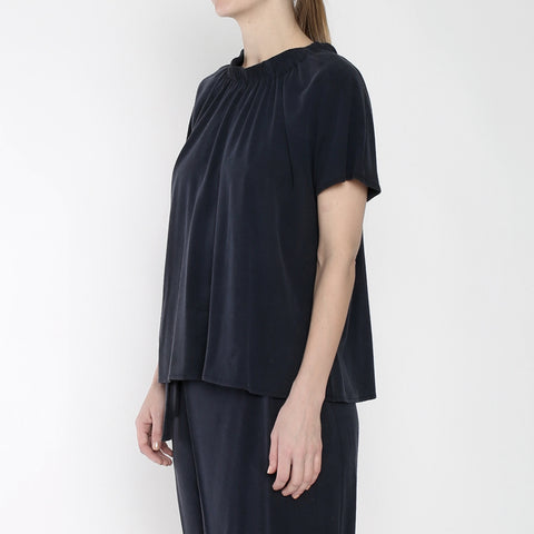 Raw Silk Ruched Neck Top - SS19 - Navy