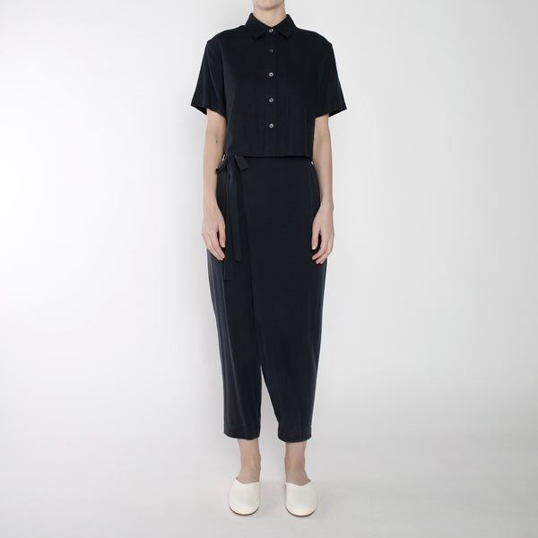 Raw Silk Ainsley Wrap Pants - SS19 - Navy