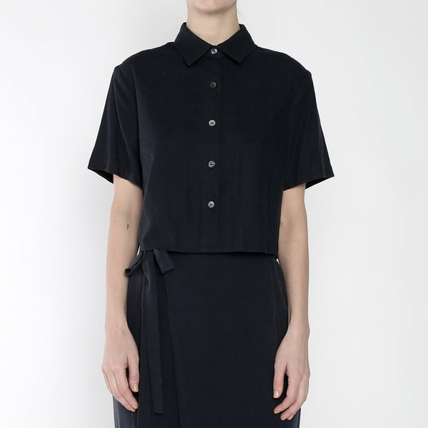 Raw Silk Cropped Button Down - SS19 - Navy