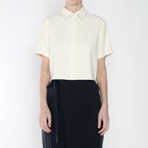 Raw Silk Cropped Button Down - SS19 - Cream