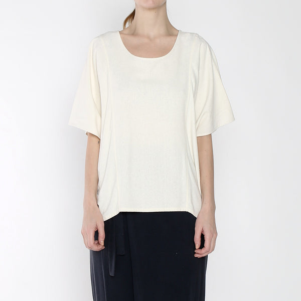 Raw Silk Cocoon Panel Top - SS19 - Cream