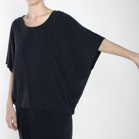 Raw Silk Cocoon Panel Top - SS19 - Navy